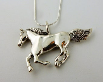 Sterling silver Large running horse pendant