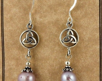 Sterling silver Celtic Trinity Knot earrings with freshwater pearls and Swarovski crystals