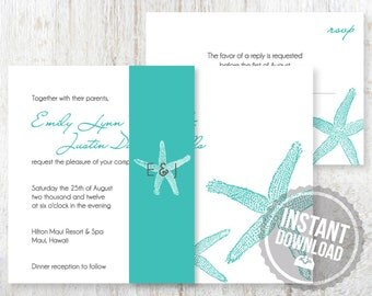 INSTANT DOWNLOAD Wedding Invitation Suite for Destination Wedding - Beach Starfish Design Customizable Printable Word Files