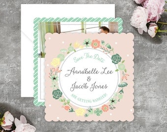 Botanical Shabby Chic Wreath Save The Date Cards  - Printable PDF or Scalloped Edge Wedding Save The Date Cards and Envelopes