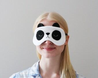 Panda Eye Mask, Fleece, Silk Back, Adjustable Elastic, Black and White