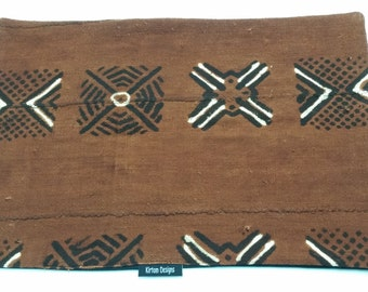 Mudcloth placemats mud cloth, bogolan brown, black and ivory place-mat