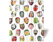 Halloween Masks Shower Curtain - photographic vintage mask reproductions - custom backgrounds