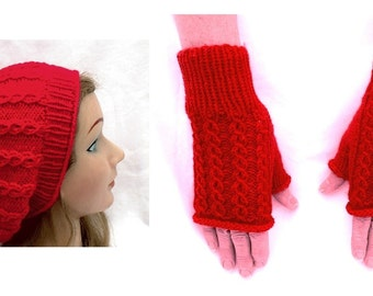 Slouchy Hat And Fingerless Mitten Set Hot Red Cables Eyelet Hand Knit Women Ladies Teens