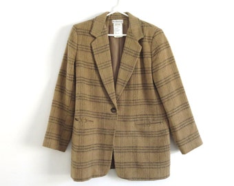 Vintage Harve Benard jacket vintage Harve Benard blazer Classic camel blazer Preppy wool jacket Women's Size 10, Tan and black plaid blazer