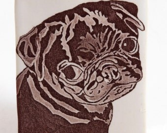 Brown and White Stoneware Adorable Naughty Black Pug Puppy Vase Pencil Holder