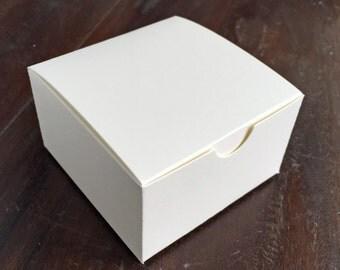 4 Piece Truffle Box - Custom Blank Favor Box - Cream Matte Paper