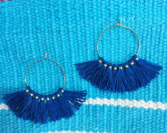 Blue Tassel Hoop Earrings