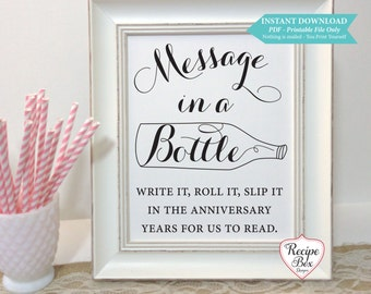 Printable Wedding Sign Message in a Bottle Printable Wedding Sign, Wedding Printable, DIY, Printable, Instant Download Template, 8x10