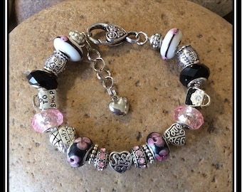 Beautiful Sister Bracelet  -  Pink and Black European Style - 7 3/4""