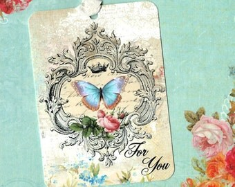 Gift Tags, Butterfly Tags, Tags, French Style, Butterfly, For You, Party Favors