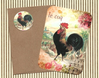 Note Cards, French Rooster, Le Coq, Farm House, Rooster Cards, Stickers, Gift Idea