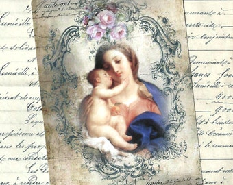 Tags, Religious, Madonna & Child, Gift Tags, Religious Tags
