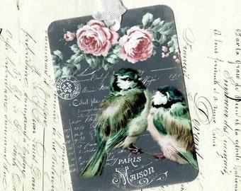 Bird Gift Tags, Bird Tags, Bird Lover, Roses, Birthday Tags, Tags