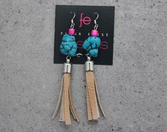 Trendy Tan Faux Leather Beaded Tassel Earrings with Turquoise Stone on Sterling Silver Earring Hooks in Blue Pink Brown Silver