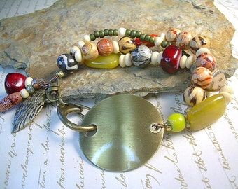 Bold Boho Chic Bracelet With Wooden, Bone, Yellow, Orange Mixed Material And Metals Gyspy Jewelry
