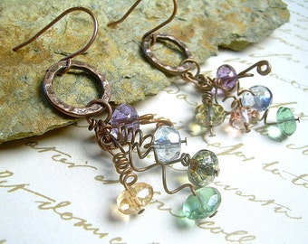 Copper and Picasso Twisted Wire Faceted Czech Bead Dangle Earrings, Light Colors