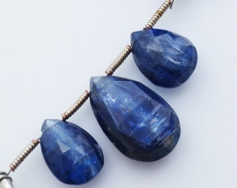 Kyanite Gemstone Briolette Trio