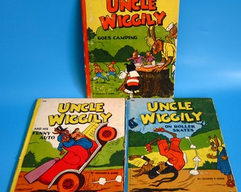 Vintage 1940s Uncle Wiggily LOT 3 Books Funny Auto Roller Skates Camping mid century 40's kids children's book