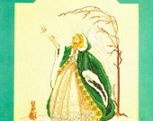 Snow Angel Long White Gown Green Hooded Cape White Wings Birds Bunny Snow Covered Tree Counted Cross Stitch Embroidery Craft Pattern Leaflet