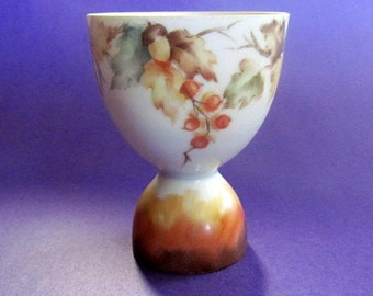 Vintage 1961 Hand Painted Signed Egg Cup Autumn Leaves Berries