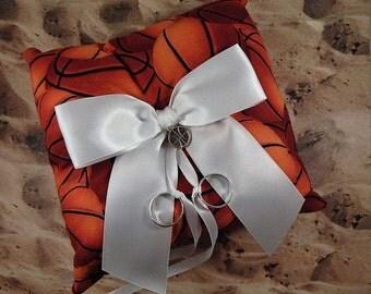 Basketball Orange Fabric White Bow Basketball Charm Wedding Ring Bearer Pillow