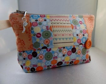 Makeup Bag Sewing Stampin up Pieced Buttons Quilted Tape Measure Cosmetic Travel Bag Organizer Bag Cute