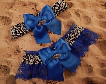 Racing Royal Blue Satin Royal Blue Lace Checkered Flag Charm Wedding Garter Bridal Toss Set