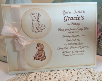 Teddy Bear Party Invitation, Baby Shower Baby Girl Vintage Style, Baby Shower Invitation Teddy Bear Party Birthday Party Invitation