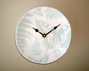 Small Wall Clock 6 Inches, Pale Sage Fern and Butterfly Clock, SILENT Botanical Clock, Unique Wall Clock, Organic Round Plate Clock - 2110
