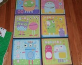 Fabric Wall Hanging Panel Little Monsters Babies Mothers Fathers Children Eyes Fun Minions Pink Blue Baby Nursery Decor