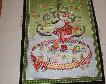 Sewing Panel Christmas Banner Fabric Dancing Sugar Plums Supply Wall Hanging Cheater Quilt Holiday Whimsey More Merriment Santa Gingerbread
