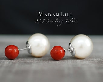 "925 Sterling Silver Double Ear Studs ""Coral"""