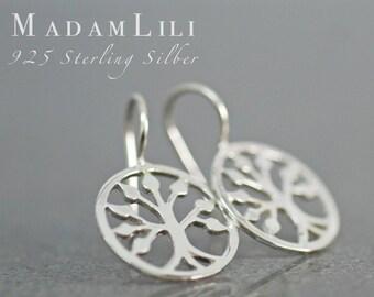 "925 Sterling Silver Earrings ""Tree of Life"""