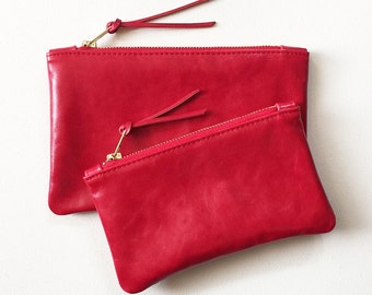 Red Leather Clutch, Red Zipper Pouch, Red Zipper Wallet, Leather Cosmetic Bag, Cell Phone Pouch, Everyday Clutch, Minimal Zipper Wallet