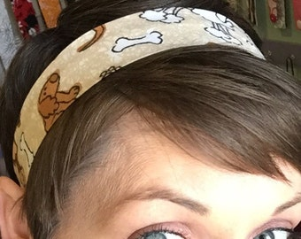 Puppy Dogs and Bones on a Cream Stay Put Headband