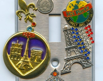 Paris France Theme Light Switch Cover With Eiffel Tower & Vintage Jewelry Pieces