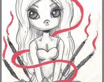 Day #180- Incense  - kawaii cutie incense meditation original sketch a day drawing! 5.5 x 8.5