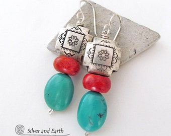 Southwest Earrings, Silver Cross Earring, Red Coral & Turquoise Earrings, Native Inspired Southwestern Jewelry, Turquoise and Silver Jewelry