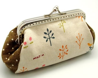 Small trees and birds - Small clutch / Coin purse / card holder (SF008) R0