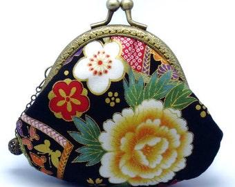 Sakura and peony - Japanese Kimono Fabric - Small clutch / Coin purse (JS-24) R1
