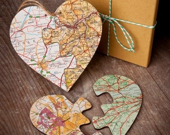 Personalised Jigsaw Map Heart - Choose your locations, custom a wedding, anniversary gift, bespoke, two locations keepsake, present