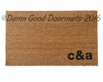 personalized initials doormat custom doormat wedding housewarming  hostess gift