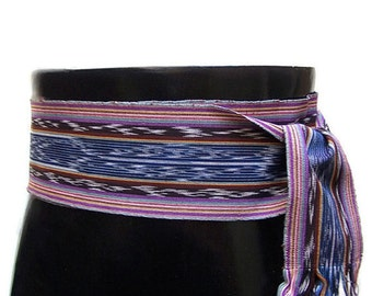 Pirate Belt - Renaissance Gypsy Clothing - Reenactment Clothing - Guatemalan Textiles - Woven Sash - Ikat Fabrics - Midnight Blue SA52