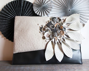 Stunning Grey Leather embellished petal clutch bag, heirloom bag, statement clutch bag, grey leather bag, neutral clutch, gifts for her