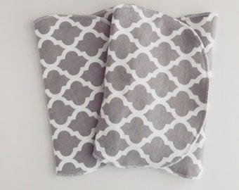 Soft Grey Lattice Burp Cloth Set or 2 - FREE SHIPPING in USA