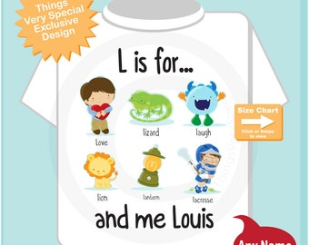 Boy's Personalized L is for Shirt or Onesie Personalized with childs name with everything that starts with L, alphabet learning 01292016a