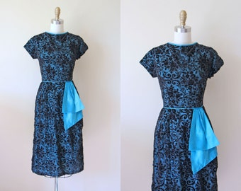 1950s Cocktail Dress - Vintage 50s Dress - Black Blue Flocked Draped Bombshell Party Dress M - Fan Dance Dress