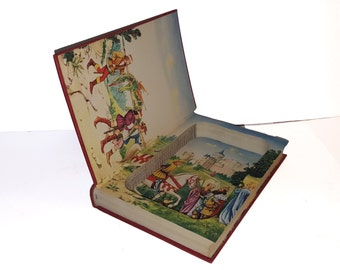 Hollow Book Safe Grimms' Fairy Tales Cloth Bound vintage Secret Compartment Security hiding place