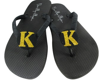 Glitter Gold & Black bridesmaid and wedding party flip flops- all colors and sizes-personalized